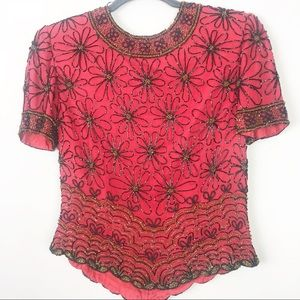 Papell Boutique | Vintage Silk Beaded Top
